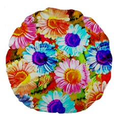 Colorful Daisy Garden Large 18  Premium Flano Round Cushions by DanaeStudio