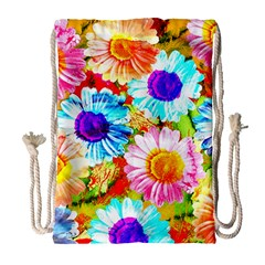 Colorful Daisy Garden Drawstring Bag (large)