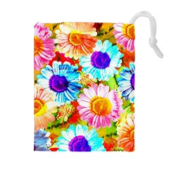 Colorful Daisy Garden Drawstring Pouches (extra Large) by DanaeStudio