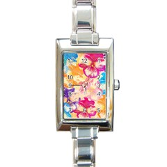 Colorful Pansies Field Rectangle Italian Charm Watch by DanaeStudio