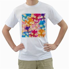 Colorful Pansies Field Men s T Shirt (white) (two Sided)