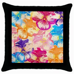 Colorful Pansies Field Throw Pillow Case (black)