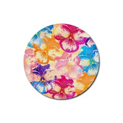 Colorful Pansies Field Rubber Coaster (round)  by DanaeStudio