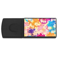 Colorful Pansies Field Usb Flash Drive Rectangular (4 Gb)  by DanaeStudio