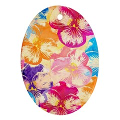 Colorful Pansies Field Oval Ornament (two Sides) by DanaeStudio