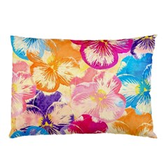 Colorful Pansies Field Pillow Case (two Sides) by DanaeStudio