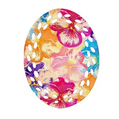 Colorful Pansies Field Oval Filigree Ornament (2 Side)