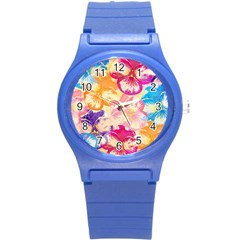 Colorful Pansies Field Round Plastic Sport Watch (s) by DanaeStudio