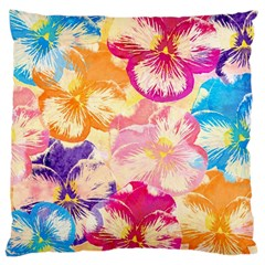 Colorful Pansies Field Large Cushion Case (one Side) by DanaeStudio