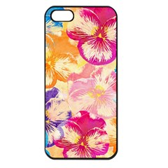 Colorful Pansies Field Apple Iphone 5 Seamless Case (black)