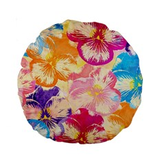 Colorful Pansies Field Standard 15  Premium Round Cushions