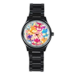 Colorful Pansies Field Stainless Steel Round Watch