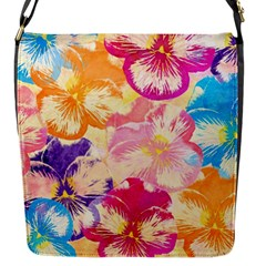 Colorful Pansies Field Flap Messenger Bag (s) by DanaeStudio