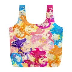 Colorful Pansies Field Full Print Recycle Bags (l)