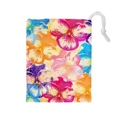 Colorful Pansies Field Drawstring Pouches (large)