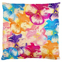 Colorful Pansies Field Standard Flano Cushion Case (one Side) by DanaeStudio