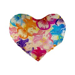 Colorful Pansies Field Standard 16  Premium Flano Heart Shape Cushions by DanaeStudio