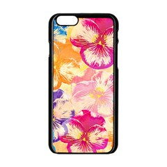 Colorful Pansies Field Apple Iphone 6/6s Black Enamel Case