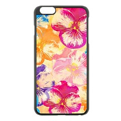 Colorful Pansies Field Apple Iphone 6 Plus/6s Plus Black Enamel Case