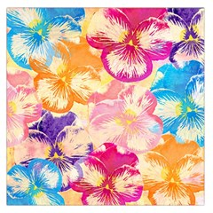 Colorful Pansies Field Large Satin Scarf (square)