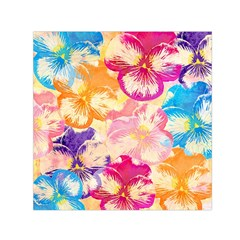 Colorful Pansies Field Small Satin Scarf (square) by DanaeStudio
