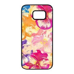 Colorful Pansies Field Samsung Galaxy S7 Edge Black Seamless Case
