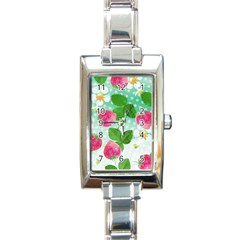 Cute Strawberries Pattern Rectangle Italian Charm Watch by DanaeStudio