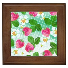 Cute Strawberries Pattern Framed Tiles by DanaeStudio