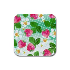 Cute Strawberries Pattern Rubber Square Coaster (4 Pack)  by DanaeStudio