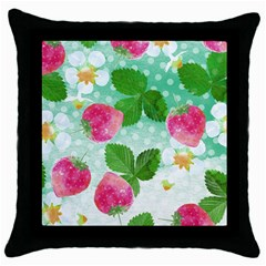 Cute Strawberries Pattern Throw Pillow Case (black)
