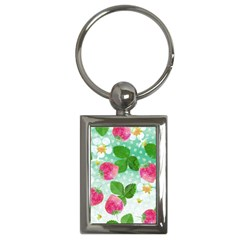 Cute Strawberries Pattern Key Chains (rectangle)  by DanaeStudio