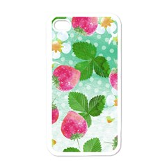 Cute Strawberries Pattern Apple Iphone 4 Case (white) by DanaeStudio