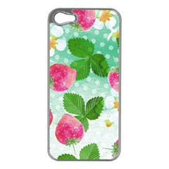 Cute Strawberries Pattern Apple Iphone 5 Case (silver)