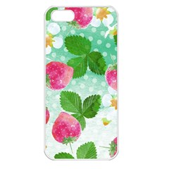Cute Strawberries Pattern Apple Iphone 5 Seamless Case (white)