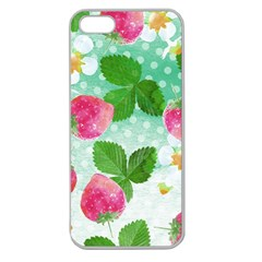 Cute Strawberries Pattern Apple Seamless Iphone 5 Case (clear)