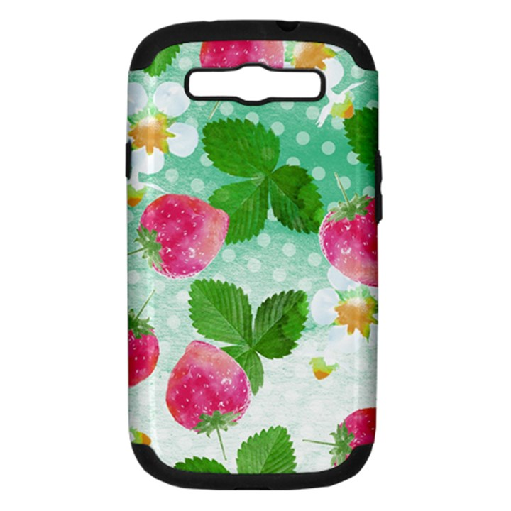 Cute Strawberries Pattern Samsung Galaxy S III Hardshell Case (PC+Silicone)