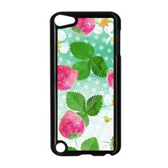 Cute Strawberries Pattern Apple Ipod Touch 5 Case (black)