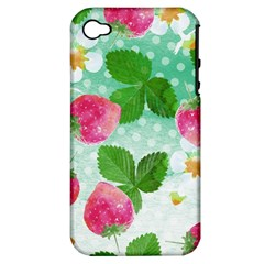 Cute Strawberries Pattern Apple Iphone 4/4s Hardshell Case (pc+silicone)