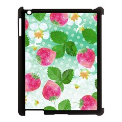 Cute Strawberries Pattern Apple Ipad 3/4 Case (black)