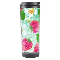 Cute Strawberries Pattern Travel Tumbler by DanaeStudio