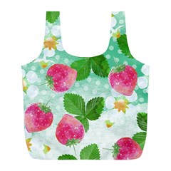 Cute Strawberries Pattern Full Print Recycle Bags (l)