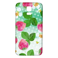 Cute Strawberries Pattern Samsung Galaxy S5 Back Case (white) by DanaeStudio