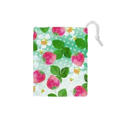 Cute Strawberries Pattern Drawstring Pouches (small)  by DanaeStudio