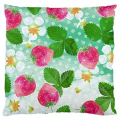 Cute Strawberries Pattern Standard Flano Cushion Case (two Sides) by DanaeStudio
