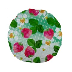 Cute Strawberries Pattern Standard 15  Premium Flano Round Cushions