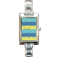 Hexagon And Stripes Pattern Rectangle Italian Charm Watch by DanaeStudio