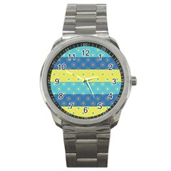 Hexagon And Stripes Pattern Sport Metal Watch by DanaeStudio