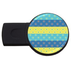 Hexagon And Stripes Pattern Usb Flash Drive Round (4 Gb)  by DanaeStudio
