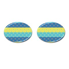 Hexagon And Stripes Pattern Cufflinks (oval) by DanaeStudio