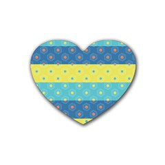 Hexagon And Stripes Pattern Heart Coaster (4 Pack)  by DanaeStudio